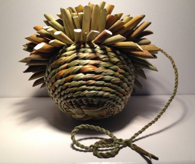 Rush basket exhibited in Basketry Identity Exhibition curated by The Basketmakers Association