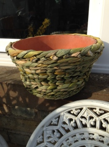 A lovely round basket woven on a terracotta plant pot in chain pairing and 3 rod waling. Super work Fi.