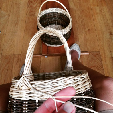 Blackberry basket handle wraps being plaited