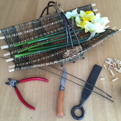 Cut flower trug in willow and dogwood